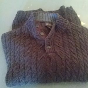 Mens cable knit style brown sweater.